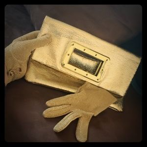 Vintage 70's gold clutch purse and gloves